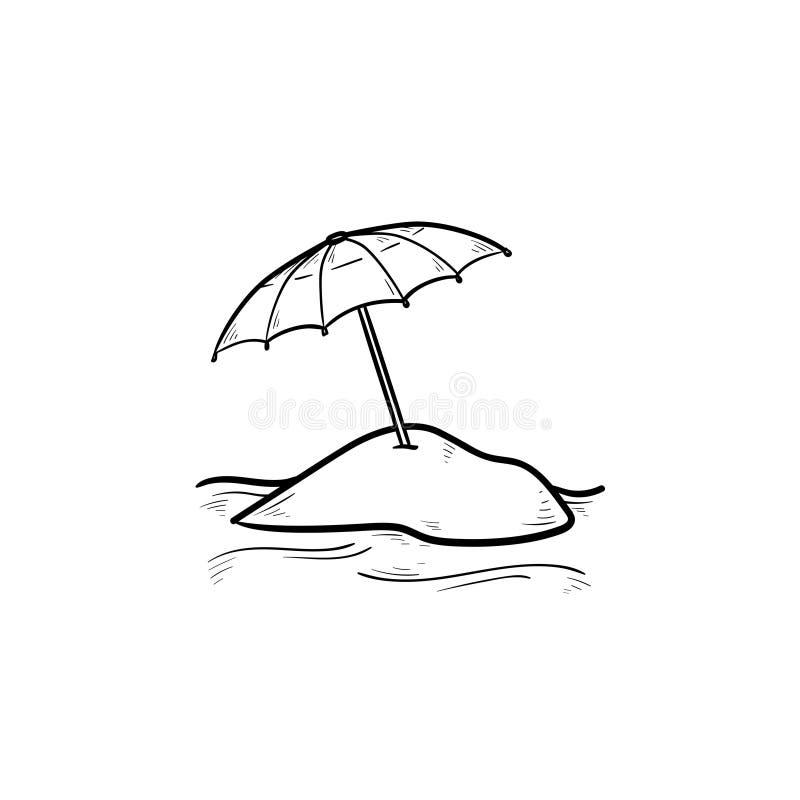 沙滩伞手拉的概述乱画象 库存例证