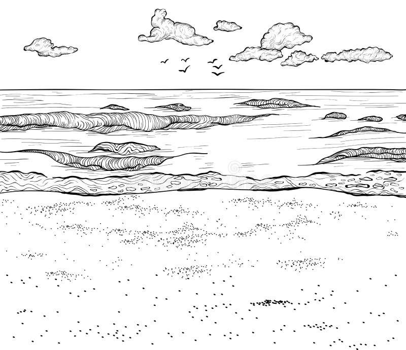 沙滩和波浪海剪影  也corel凹道例证向量 皇族释放例证