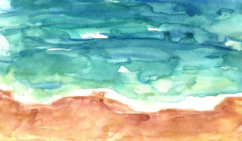沙滩和蓝色海,水彩洗涤纹理鸟瞰图  E 库存例证
