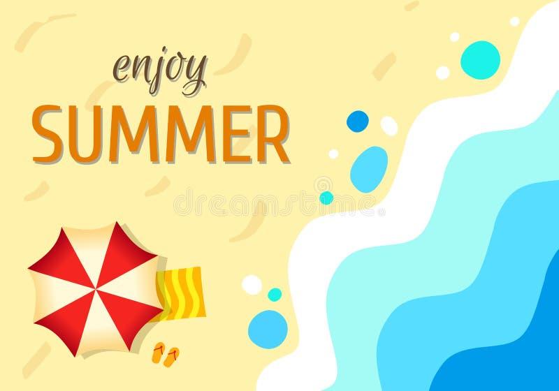 沙滩热带背景海洋,抽象海 晴朗的夏日, 向量例证