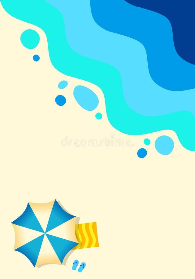 沙滩热带背景海洋,抽象海 晴朗的summe 库存例证