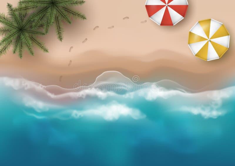 沙滩的传染媒介美好的顶视图例证与棕榈树、伞和脚印的 库存例证