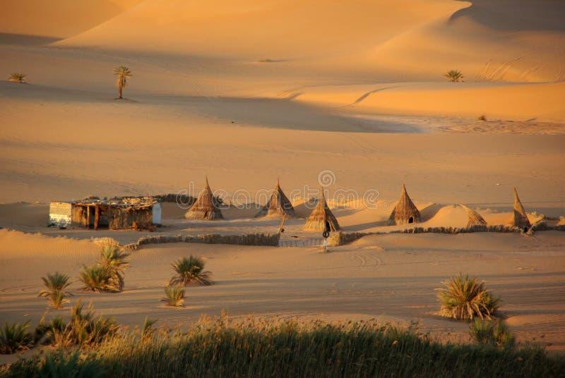 沙漠利比亚村庄 库存照片