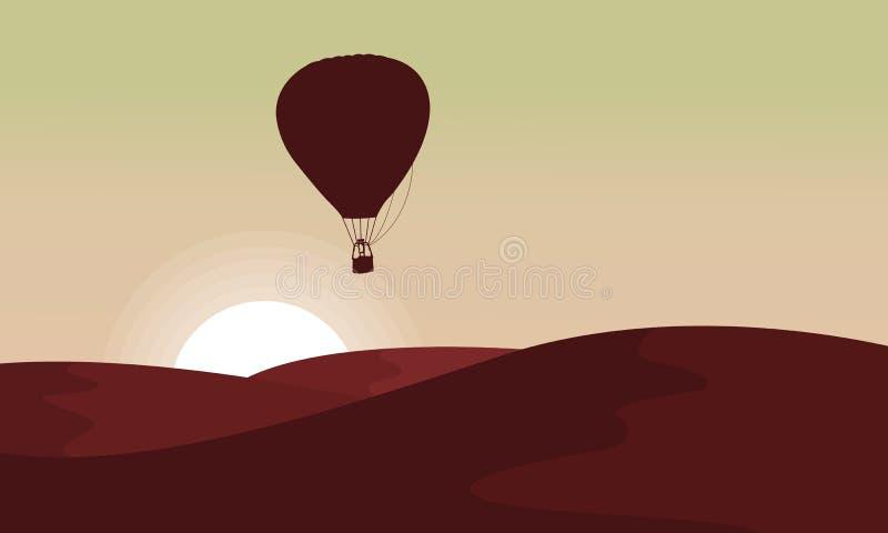 沙漠剪影有气球的在天空 向量例证