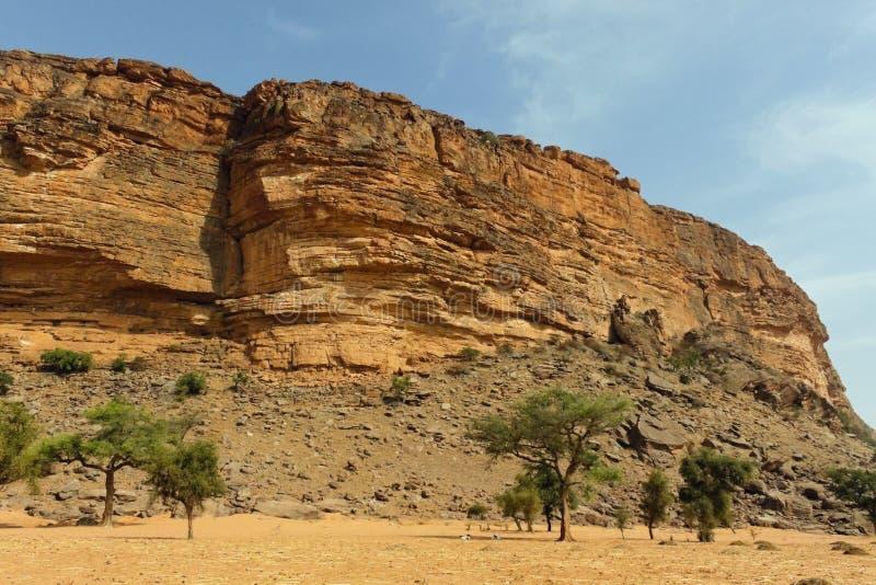 沙漠和峭壁在邦贾加拉悬崖 免版税库存照片