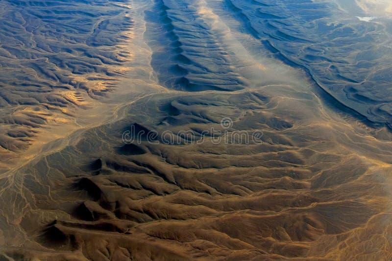 沙漠在从飞机看见的北非 免版税库存照片