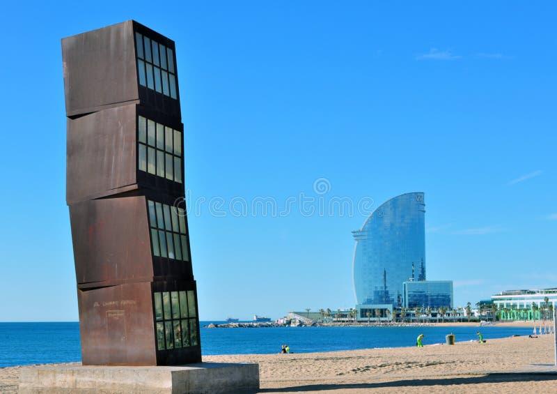 沙漠在海岸巴塞罗那的风景夏天 库存照片