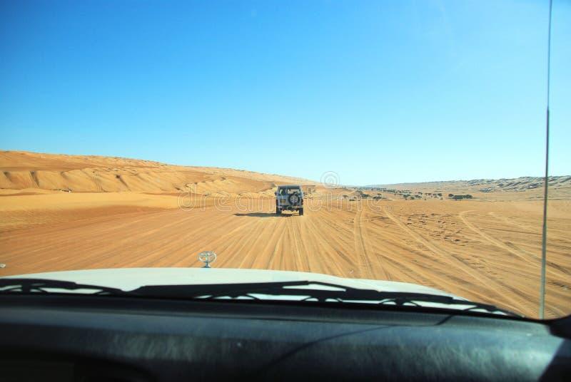 沙漠徒步旅行队阿曼 免版税图库摄影