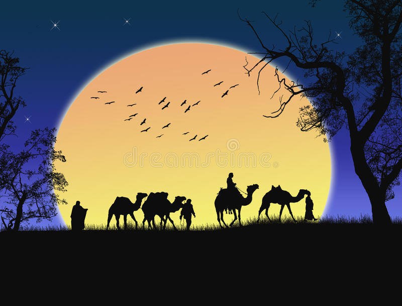 沙漠撒哈拉大沙漠日落 向量例证