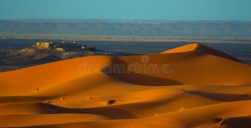 沙漠撒哈拉大沙漠日落 库存照片
