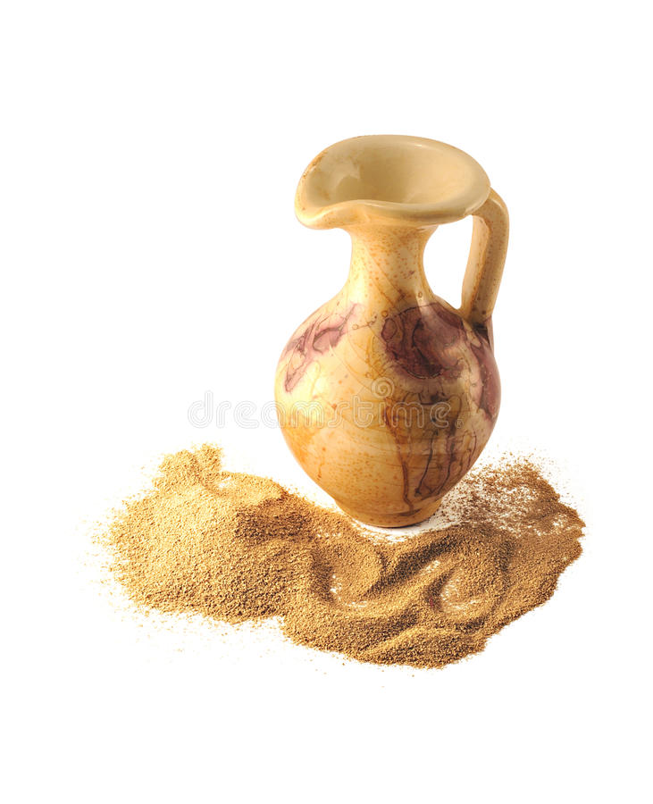 沙漠水罐沙子小他们 库存照片