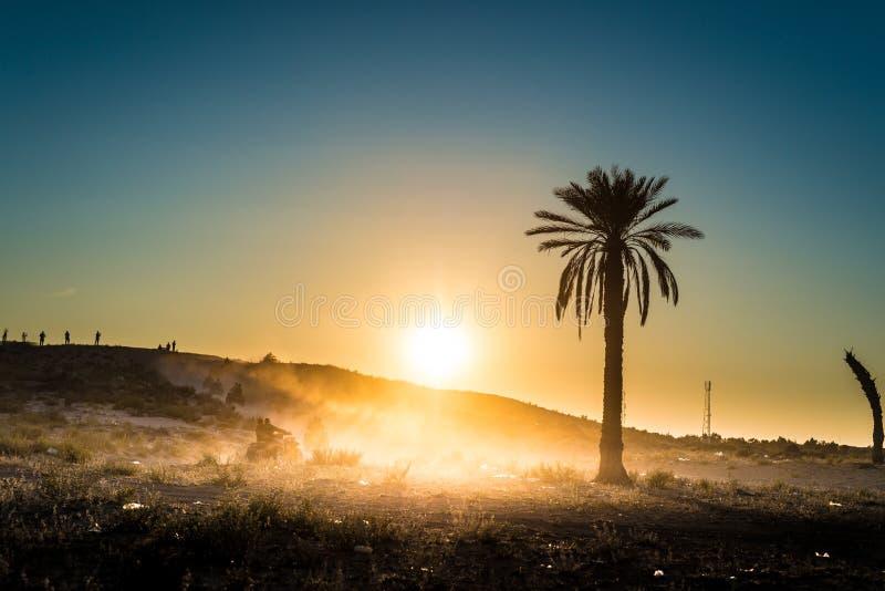沙漠活动在突尼斯 免版税库存照片