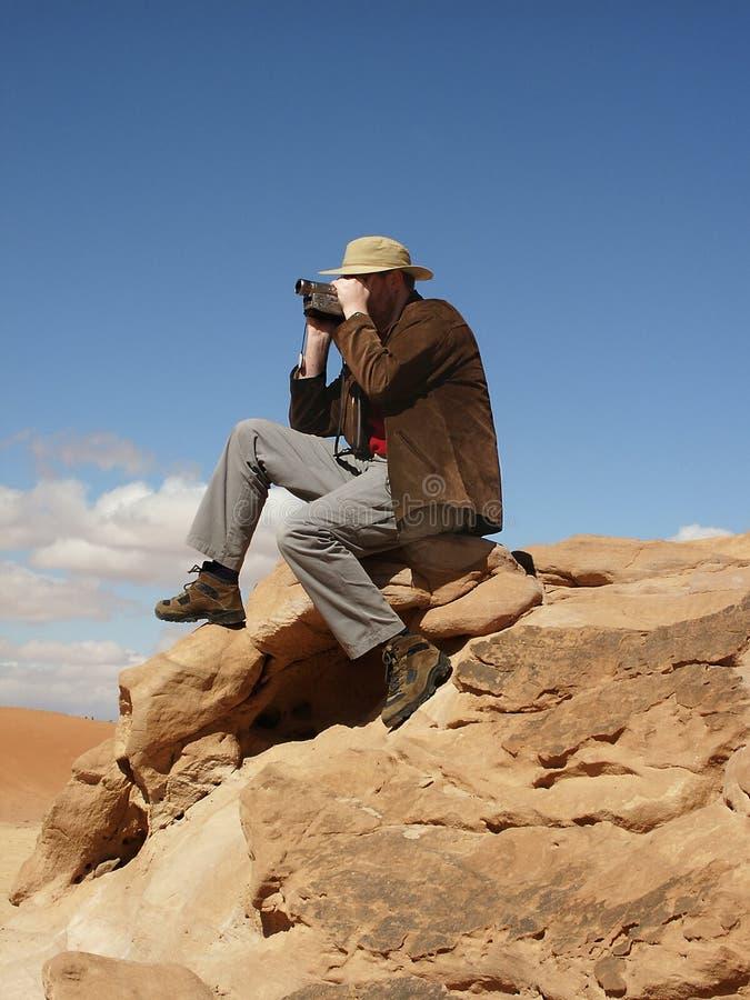 沙漠游人 库存照片