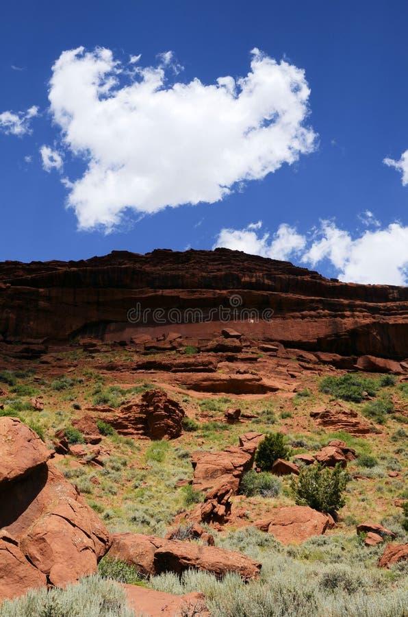 沙漠红色岩石天空 库存照片