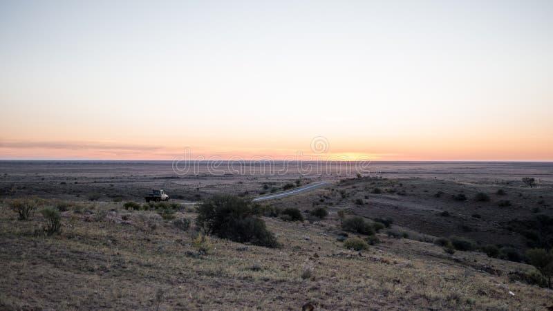 沙漠迪拜沙丘日落 免版税库存图片