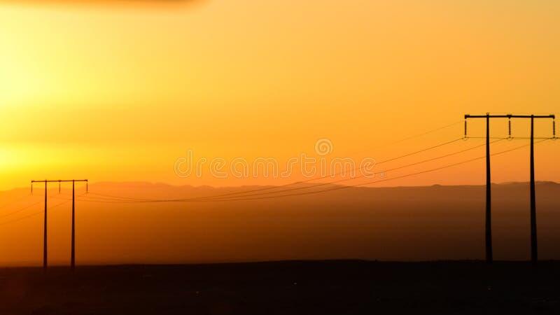 沙漠迪拜沙丘日落 免版税库存照片