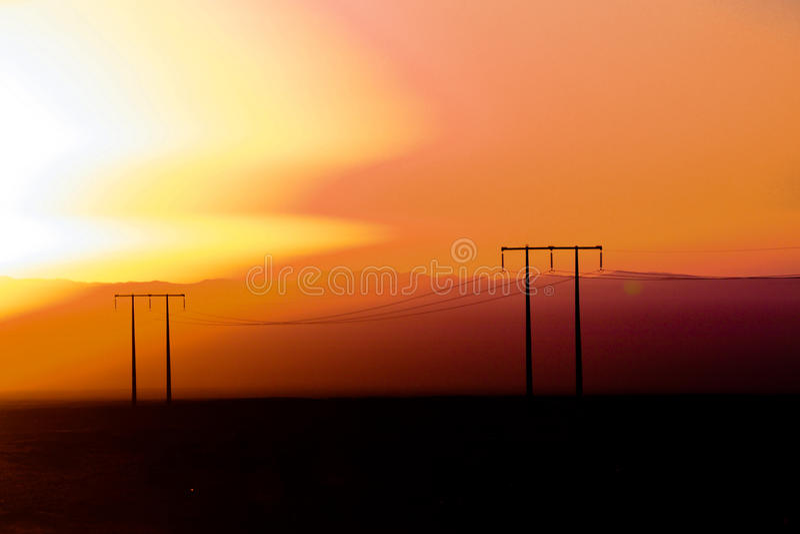 沙漠迪拜沙丘日落 免版税图库摄影