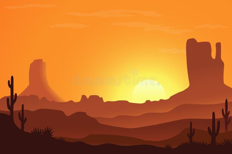 沙漠风景在亚利桑那 向量例证