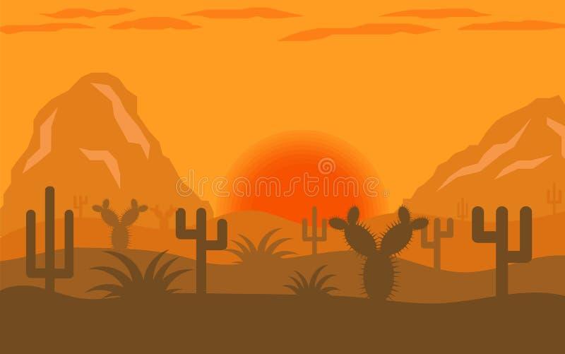 沙漠风景平的设计 向量例证