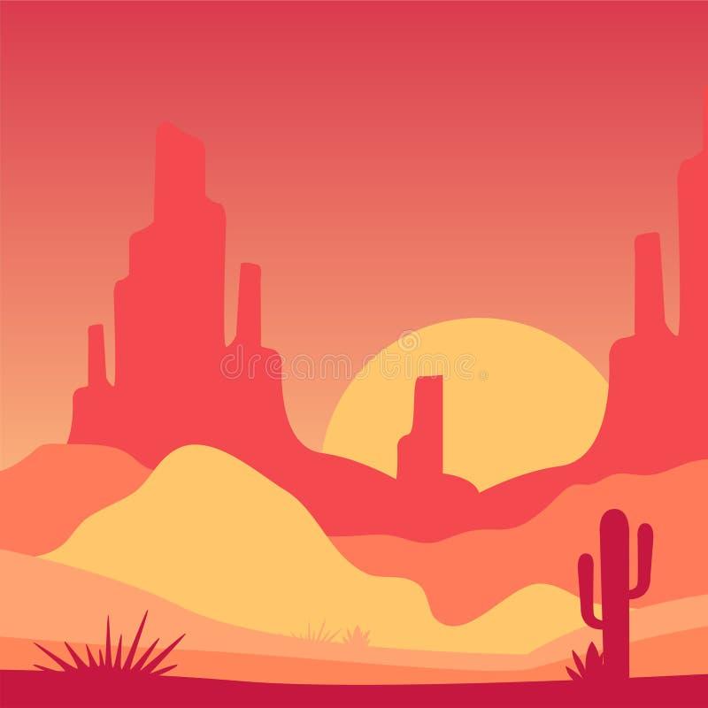 沙漠风景有落矶山脉和仙人掌植物的 与日出的风景 在梯度颜色的传染媒介设计为 皇族释放例证