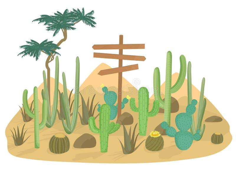 沙漠风景背景用仙人掌和山 木路标 库存例证