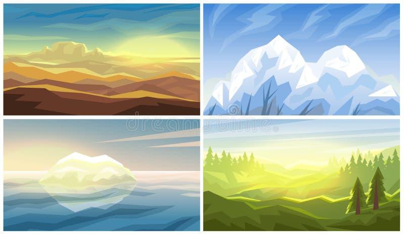沙漠,冰山,森林,山环境美化 皇族释放例证