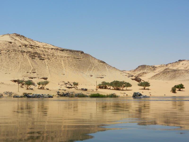 沙漠-在巡航期间的风景在尼罗 免版税库存照片