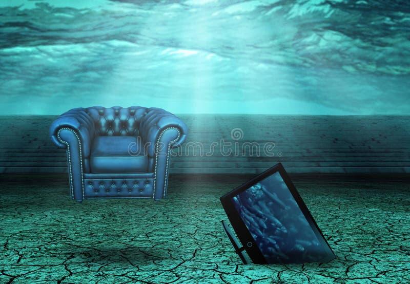 沙漠破坏水中 向量例证