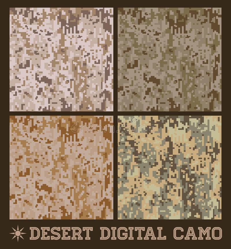 沙漠-无缝的传染媒介数字式伪装 向量例证