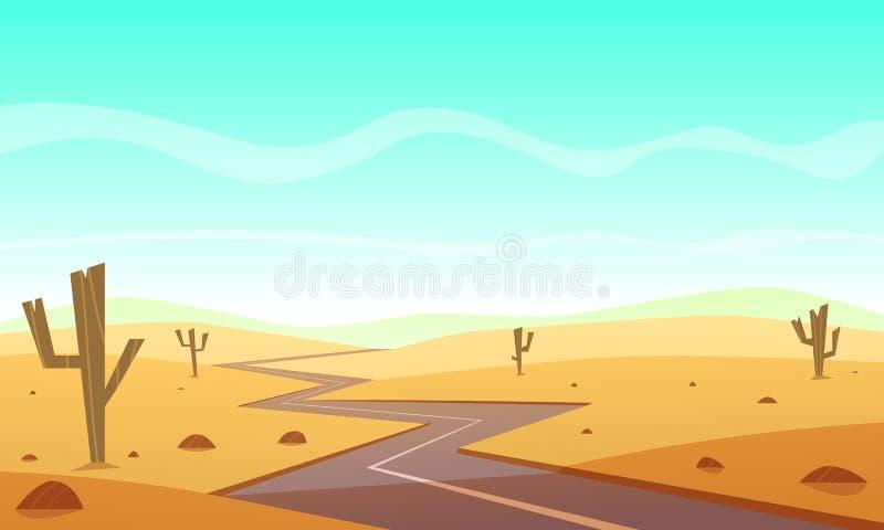 沙漠Road.Fuerteventura 库存例证