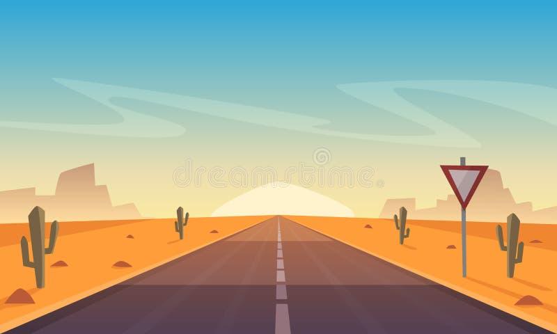 沙漠Road.Fuerteventura 皇族释放例证