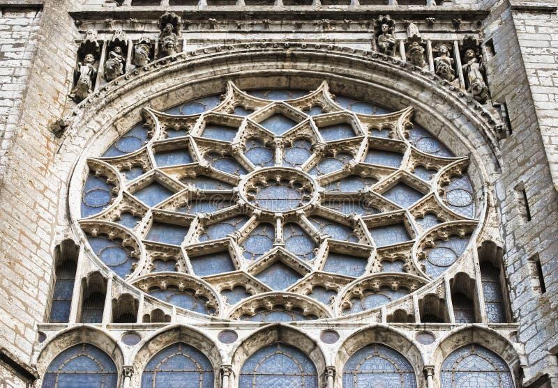 沙特尔大教堂,法国圆花窗  免版税库存照片