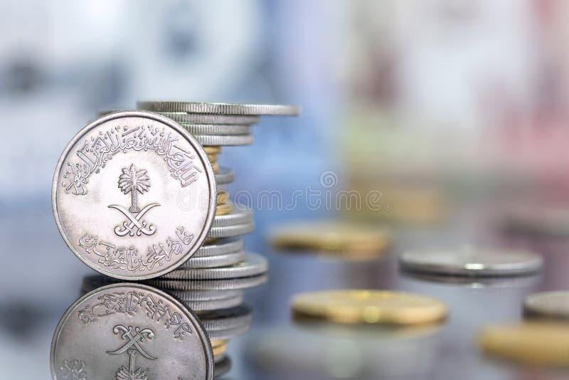 沙特里亚尔硬币 库存照片
