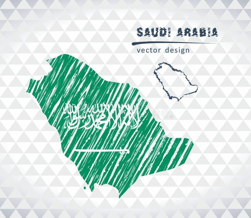 沙特阿拉伯与在白色背景隔绝的旗子里面的传染媒介地图 剪影白垩手拉的例证 向量例证