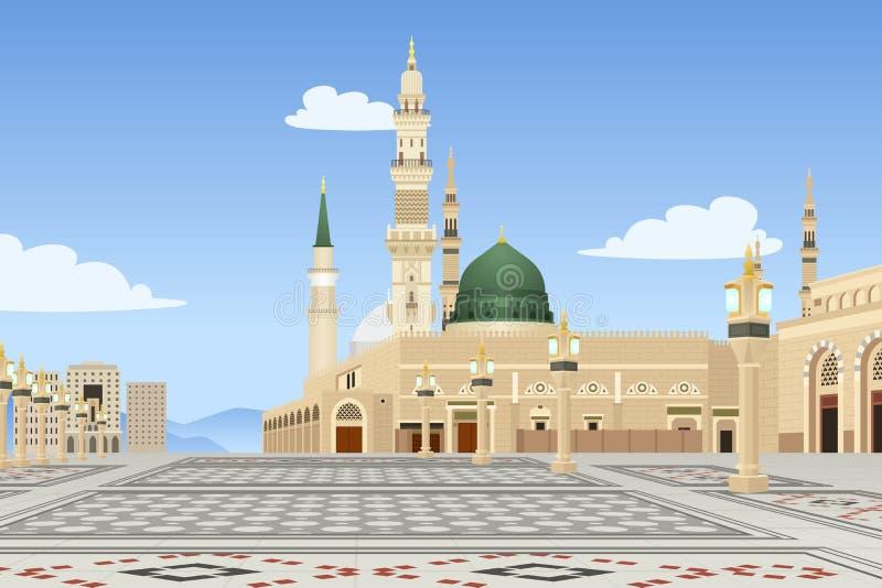 沙特阿拉伯例证的麦地那清真寺 库存例证