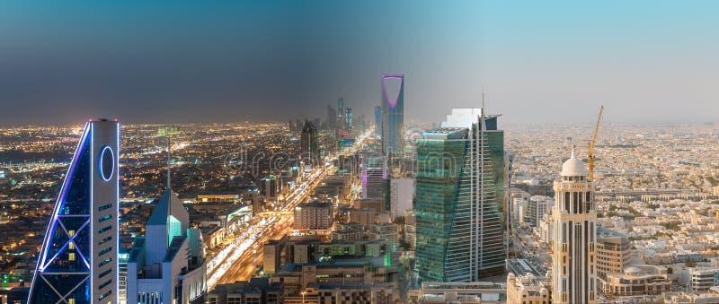 沙特阿拉伯利雅得风景之间日夜-利雅得塔王国中心,王国塔,利雅得地平线- Burj AlMamlaka 免版税库存照片