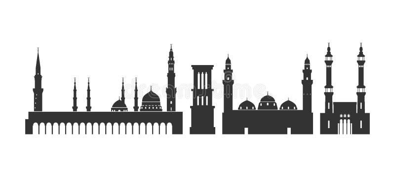 沙特阿拉伯商标 在白色背景的被隔绝的沙特阿拉伯人建筑学 向量例证