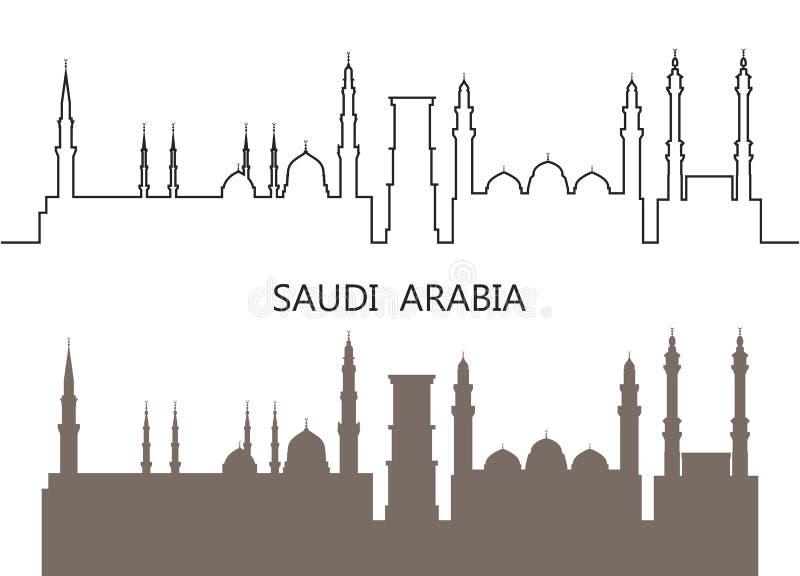 沙特阿拉伯商标 在白色背景的被隔绝的沙特阿拉伯人建筑学 库存例证