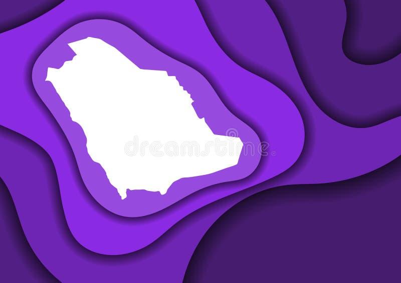 沙特阿拉伯地图从紫罗兰色层数纸裁减3D的摘要概要挥动并且遮蔽一在其他 横幅的布局, 库存例证