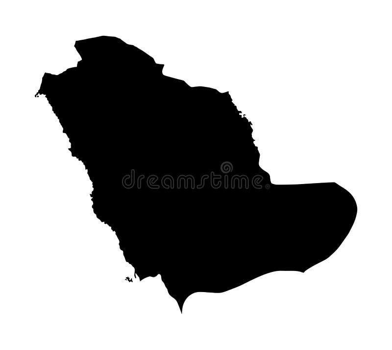 沙特阿拉伯地图剪影 中东国家地图 向量例证