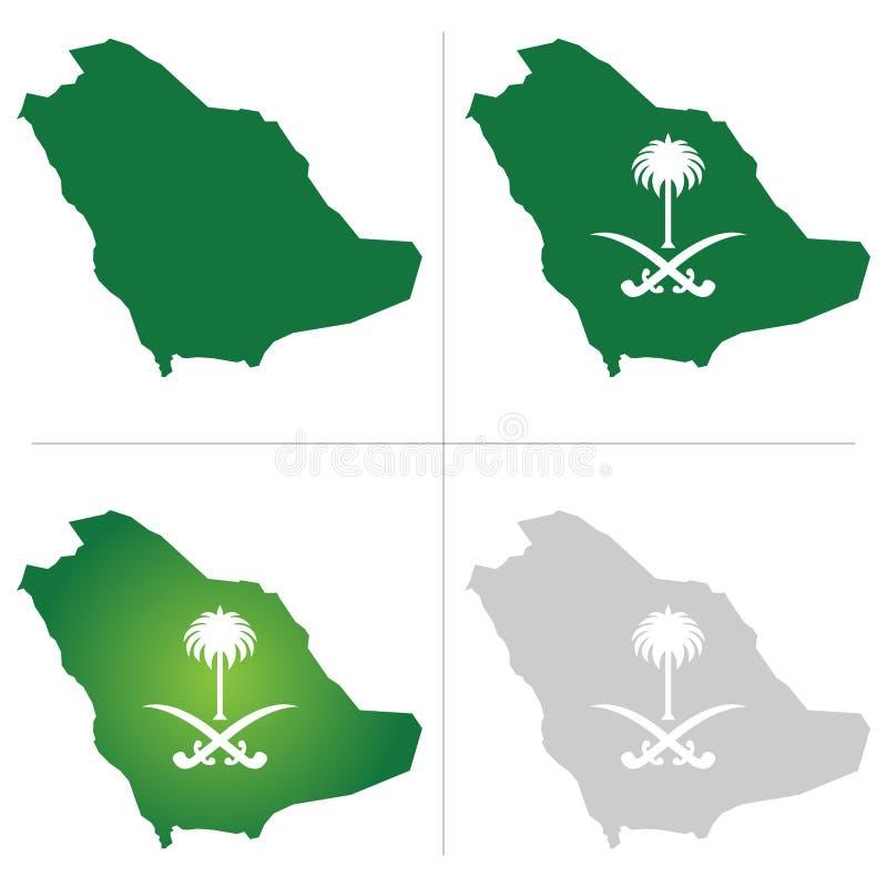 沙特阿拉伯地图和全国商标 向量例证