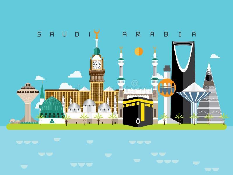 沙特阿拉伯地标旅行和旅途传染媒介 向量例证