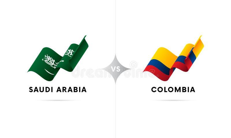 沙特阿拉伯对哥伦比亚 橄榄球 也corel凹道例证向量 皇族释放例证