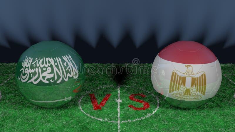 沙特阿拉伯对埃及 2018年世界杯足球赛 原始的3D图象 库存例证