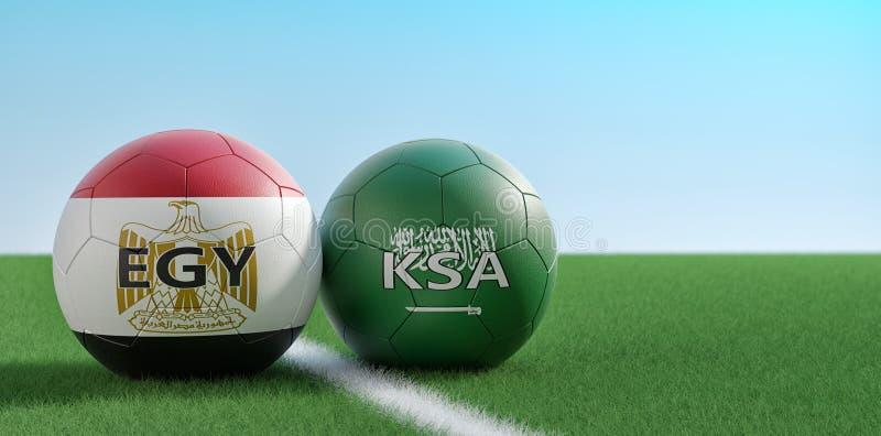 沙特阿拉伯对 埃及足球比赛-足球在Egypts和在足球场的沙特Arabias全国颜色 皇族释放例证