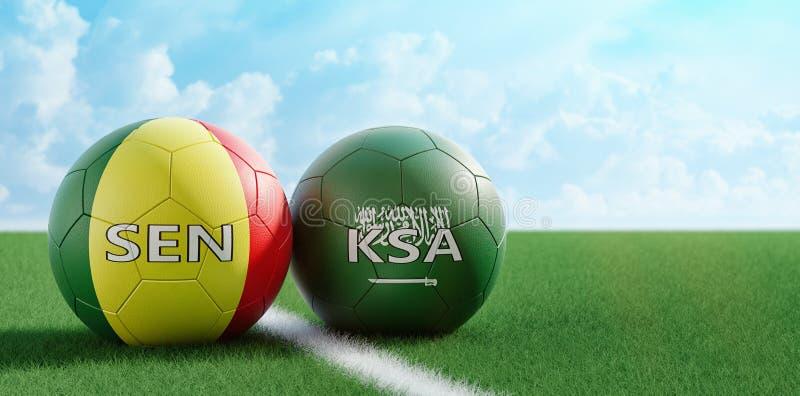 沙特阿拉伯对 塞内加尔足球比赛-在沙特阿拉伯和塞内加尔全国颜色的足球在足球场 向量例证
