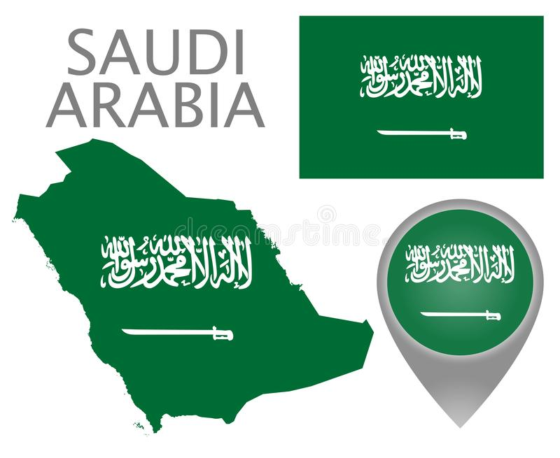 沙特阿拉伯旗子、地图和地图尖 向量例证