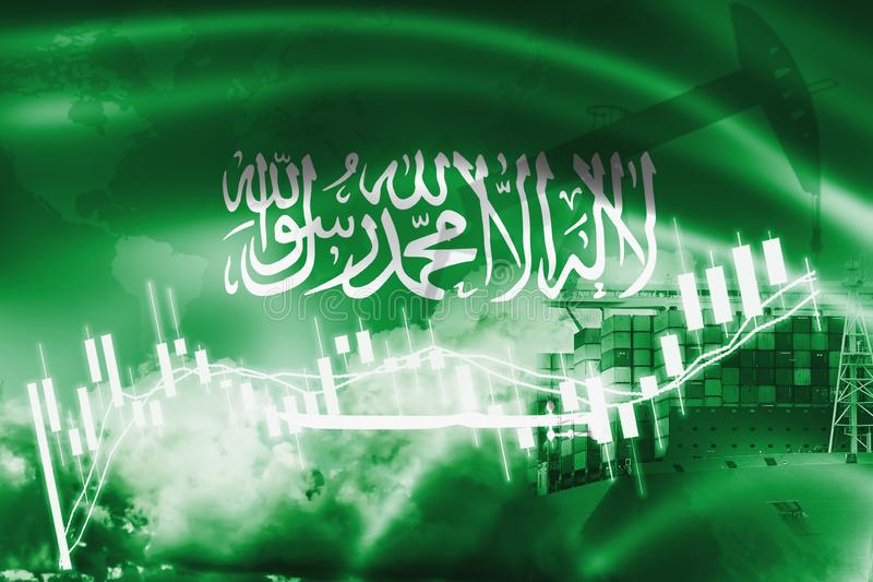 沙特阿拉伯旗子、股票市场、交换经济和贸易,石油生产,在出口和进口业的集装箱船和 库存例证