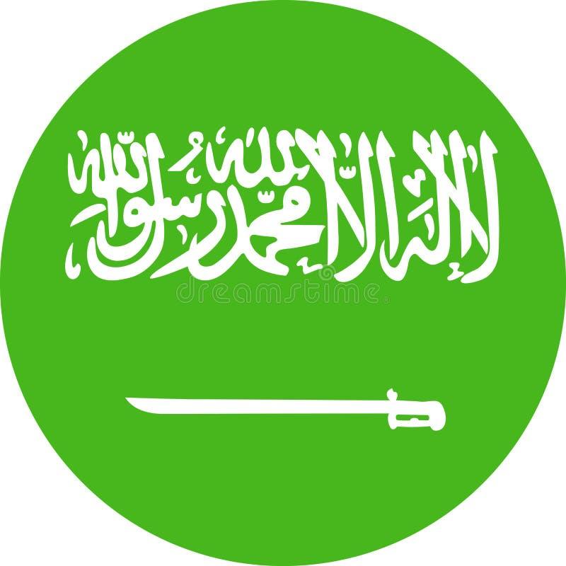 沙特阿拉伯旗子传染媒介圆的平的象 库存例证