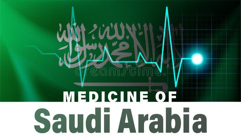沙特阿拉伯旗子和心跳线例证 沙特阿拉伯的医学有国名的 库存例证